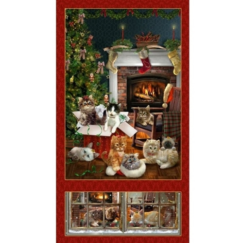 Fireside Kittens Christmas Holiday Cat 24x44 Cotton Fabric Panel