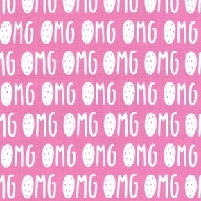 Glam Girls Collection OMG Acronym Internet Slang on Pink Cotton Fabric