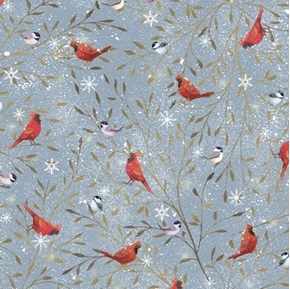 Woodland Buddies Cardinals Chickadee Birds Winter Gray Cotton Fabric