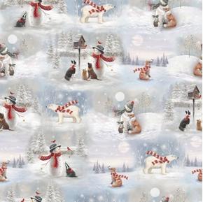 Woodland Buddies Scenic Winter Snowman and Animals Cotton Fabric