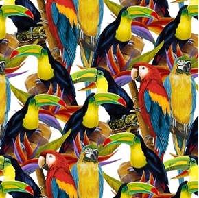 Birds in Paradise Packed Parrots Tropical Bird Cotton Fabric