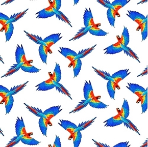 Birds in Paradise Flying Macaw Allover Colorful Bird Cotton Fabric