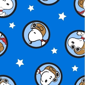 Peanuts Snoopy Red Baron Badges and Stars Blue Cotton Fabric