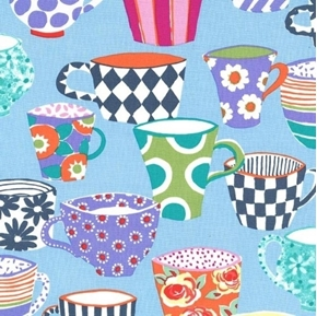 Table Talk Coffee Break Colorful Mugs and Cups Blue Cotton Fabric