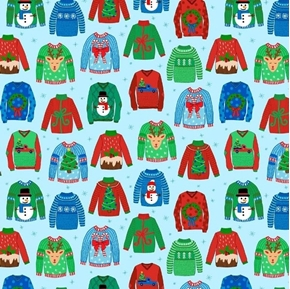 Sweater Weather Ugly Christmas Sweaters Blue Cotton Fabric
