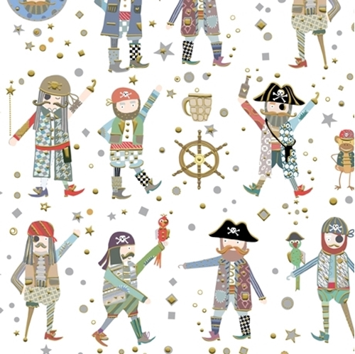 Arrr Mateys Pirates Children's Pirate and Monkey White Cotton Fabric
