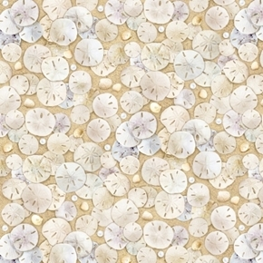 Landscape Medley Sand Dollars and Shells Beach Cotton Fabric