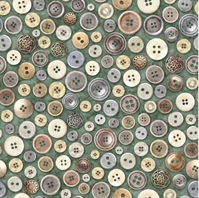 Cotton Couture Buttons Vintage Button Collection Green Cotton Fabric