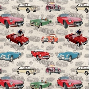 MG Collection MG Allover Classic British Motor Cars Beige Cotton Fabric