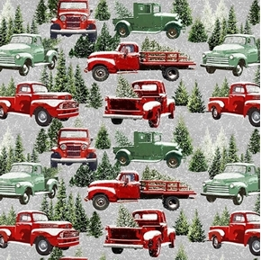 The Tradition Continues Packed Allover Red Trucks in Snow Cotton Fabric