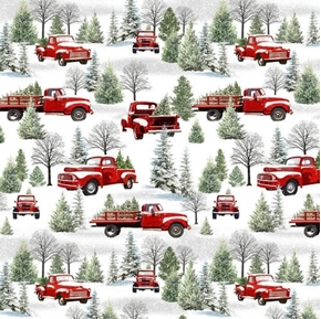 The Tradition Continues Scenic Trucks Red Truck Winter Snow Cotton Fabric