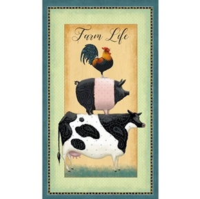 Down on the Farm Farm Life Cow Pig Rooster 24x44 Cotton Fabric Panel
