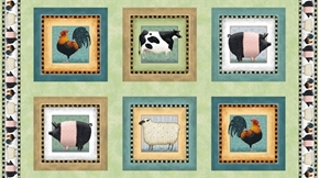 Down on the Farm  Animal Picture Patches 24x44 Cotton Fabric Panel
