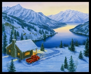 Wonderland Winter Cabin Red Truck Mountain Scene Cotton Fabric Panel