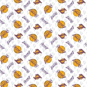 NBA Basketball Los Angeles Lakers White Cotton Fabric
