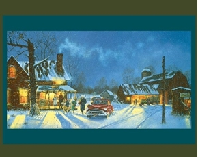 Happy Holidays Visiting the Family Farm Large Cotton Fabric Panel