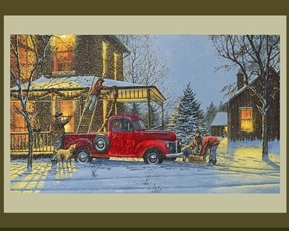 An Old Fashioned Christmas Red Truck Dave Barnhouse Cotton Fabric Panel