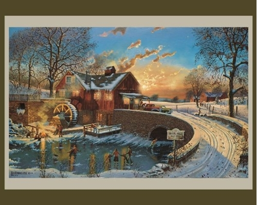 The Skating Party Winter Scene Dave Barnhouse Large Cotton Fabric Panel