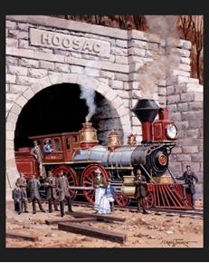 Massachusetts Locomotive Vintage Railroad Large Cotton Fabric Panel