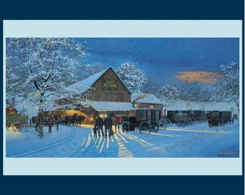 The Gathering Place Amish Auction Dave Barnhouse Cotton Fabric Panel