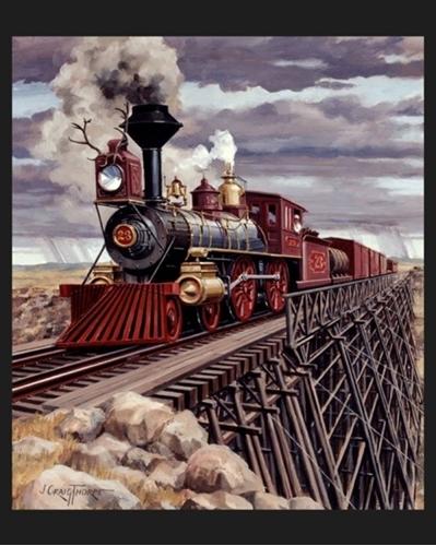 Wyoming Locomotive Steam Enginge Train Large Cotton Fabric Panel