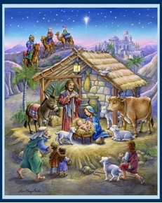 Nativity Christmas Artwork Rose Mary Berlin Large Cotton Fabric Panel