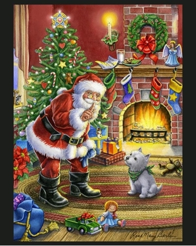 Shhh Santa Christmas Eve By Rose Mary Berlin Large Cotton Fabric Panel