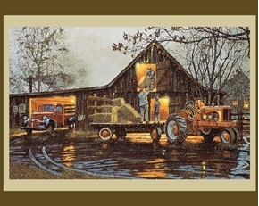 Last Chore of the Day Farming Hay Barnhouse Large Cotton Fabric Panel