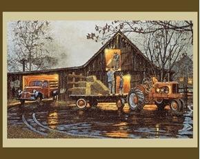 Last Chore of the Day Farming Hay Barnhouse Large Cotton Fabric Panel