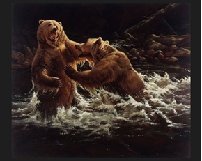 Clash Brown Bears Fighting By Paco Young Large Cotton Fabric Panel
