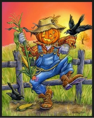 Scarecrow Halloween Illustration Rose Mary Berlin Cotton Fabric Panel