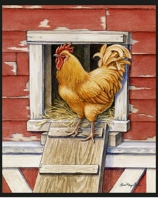 Picture of Rooster in the Chicken Coop Rose Mary Berlin Large Cotton Fabric Panel