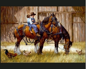 To the Barn Children Riding Horse Jim Daly Large Cotton Fabric Panel