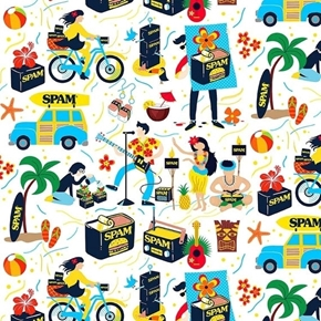 Spam Ham in a Can Iconic Food Hawaiian Beach Scene Cotton Fabric