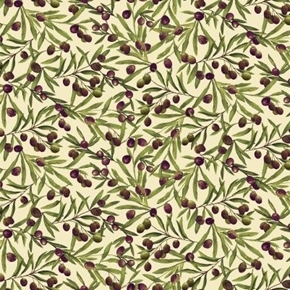 Vineyard Vines of Grapes and Olives Leaves and Fruit Cotton Fabric