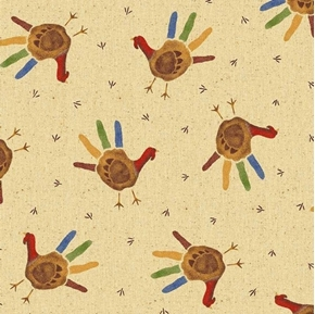 Gobble Gobble Childrens Hand Print Thanksgiving Turkeys Cotton Fabric