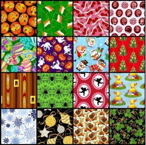 Holiday Fabric One Pound of Large Size Scraps for Masks