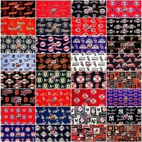 MLB Baseball Teams 8 oz Large Size Fabric Scraps for Masks