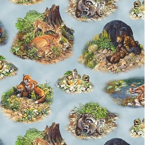 Woodland Families Wild Animal Family Vignettes Fox Blue Cotton Fabric