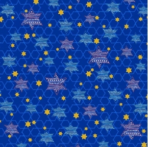 Happy Hanukkah Star of David Stars Blue Cotton Fabric