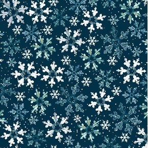 First Frost Birds Snow Winter Snowflakes Navy Cotton Fabric
