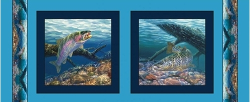 Anglers Delight Rainbow Trout Fish 18x44 Cotton Fabric Panel Set