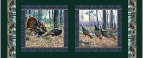 Morning Gobblers Wild Turkeys Green 18x44 Cotton Fabric Panel Set