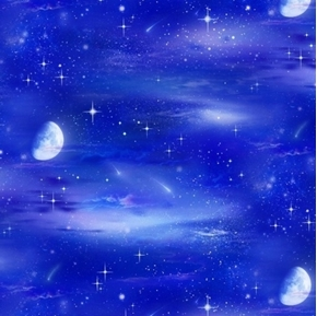 Landscape Medley Night Sky Stars and Moon Royal Blue Cotton Fabric