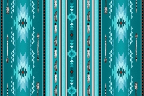 Native Spirit Southwest Arrow Feather Stripe Turquoise Cotton Fabric