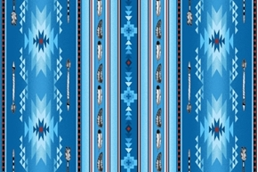 Native Spirit Southwest Arrow Feather Stripe Blue Cotton Fabric