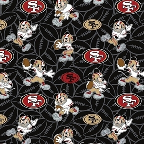 NFL Football San Francisco 49ers Mickey Disney Mash-up Cotton Fabric