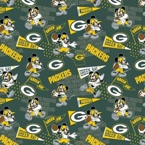 NFL Football Green Bay Packers Mickey Disney Mash-up Cotton Fabric