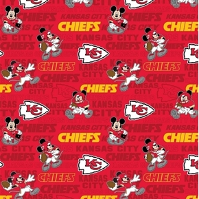 NFL Football Kansas City Chiefs Mickey Disney Mash-up Cotton Fabric