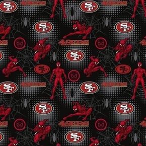 NFL Football San Francisco 49ers Marvel Mash-up Spiderman Cotton Fabric